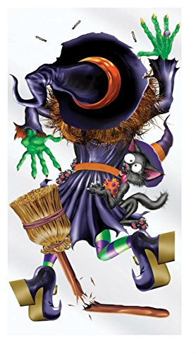 Witch Crashing Door Cover (FUNNY CRASHING WITCH INTO DOOR COVER HALLOWEEN PARTY DECORATION BG00015)