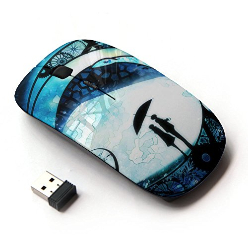 Planetar Colorful PrinTed Ultra-thin Wireless Optical 2.4Ghz Mouse - Black ( Fairytale Machine Love Universe Time Couple (Fairy Tale Couples)