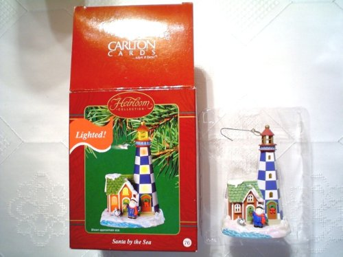 Vintage Carlton Cards Lighted Santa By The Seas Series Christmas Ornament 76 Cxor 055J