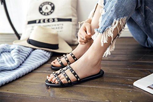 con Las Verano Remaches Zapatillas Plano de Mujer Fondo Estudiantes Sandalia Mujeres Mujer de Sandalias Black Pulsera de para Playa Sandalias BYFqB1x