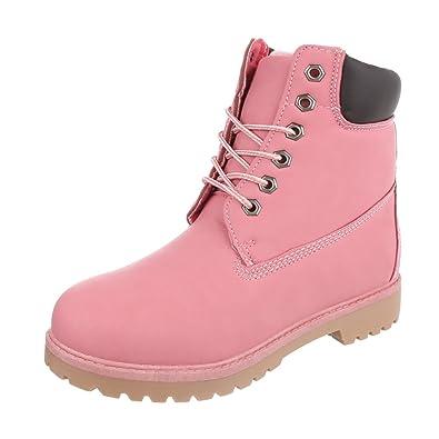 Damen Schuhe Stiefeletten Schnürer Boots Altrosa 36 xG93Ki
