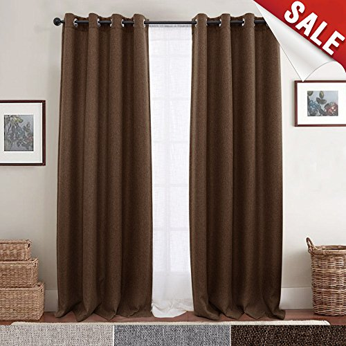 Linen Look Blackout Curtains for Bedroom 84 Inches Long Grommet Room Darkening Window Curtain Panels Brown 1 Panel