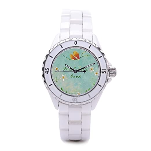 Bookplates barato Relojes de pulsera. Mariposas Ladies cerámica relojes para mujer reloj de cerámica de lectura: Amazon.es: Relojes