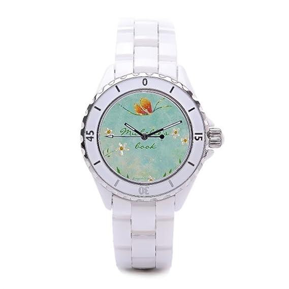 Bookplates barato Relojes de pulsera. Mariposas Ladies cerámica relojes para mujer reloj de cerámica de
