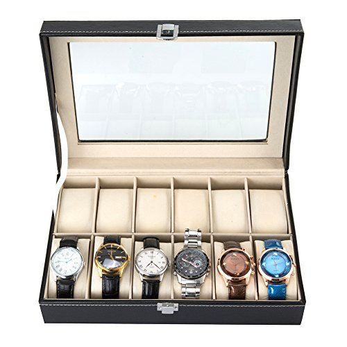 Harwoo Brand 12 Slot Mens Watch Display Box Organizer Large Black PU Leather Lockable Jewelry Case With Glass Top Velvet Pillows