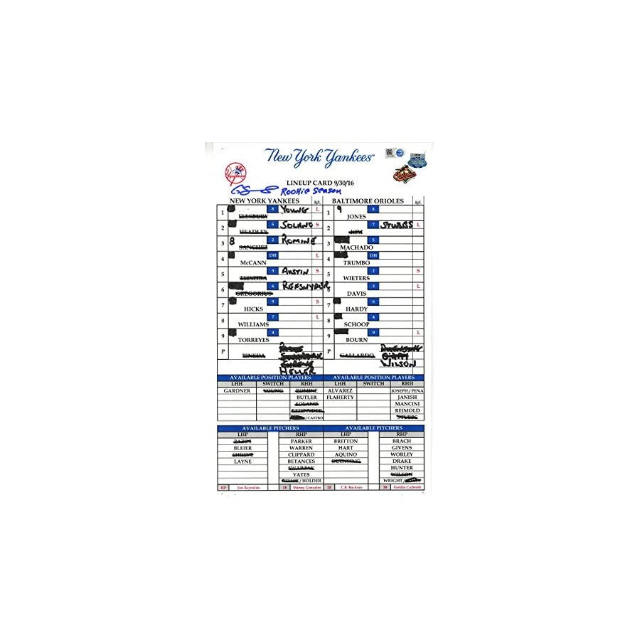 Gary Sanchez Signed Orioles at Yankees 9 30 2016 Game Used Lineup Card w/ Rookie Season Insc (JB814890)