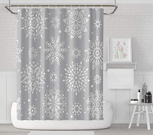 - Asoco Shower Curtain Set with 12 Hooks Beautiful with Snowflake Circle Winter Christmas New Year Winter MotifsPolyester Fabric Waterproof Bath Curtain 72X78 Inches Decortive Bathroom