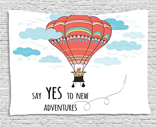 - Ambesonne Cartoon Tapestry, Inspirational Words Say Yes to New Adventures Cute Hand Drawn Hot Air Balloon, Wall Hanging for Bedroom Living Room Dorm, 60 W X 40 L Inches, Mint Pink