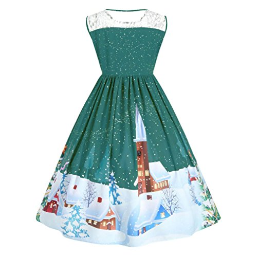 Panel Size Print Christmas Party Kolylong Lace up Pin Plus Green Dress Women Swing vxSgqBf