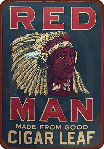 - Jesiceny New Tin Sign Red Man Chewing Tobacco Leaf Vintage Look Aluminum Metal Sign 8x12 Inches