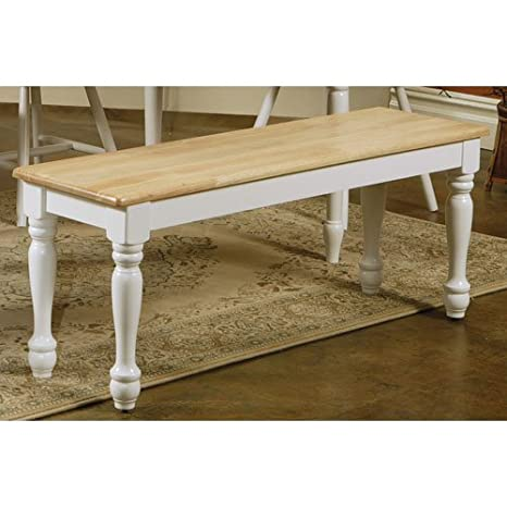 Amazon.com: Coaster Country Style Dining Chair House Bench, Natural And  White Finish: Kitchen U0026 Dining