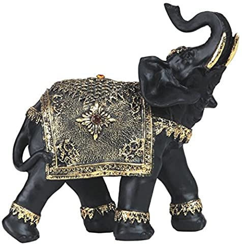 George S. Chen Imports SS-G-88148 Black Thai Elephant with Trunk Up Statue Gold Color Accents, 8.5