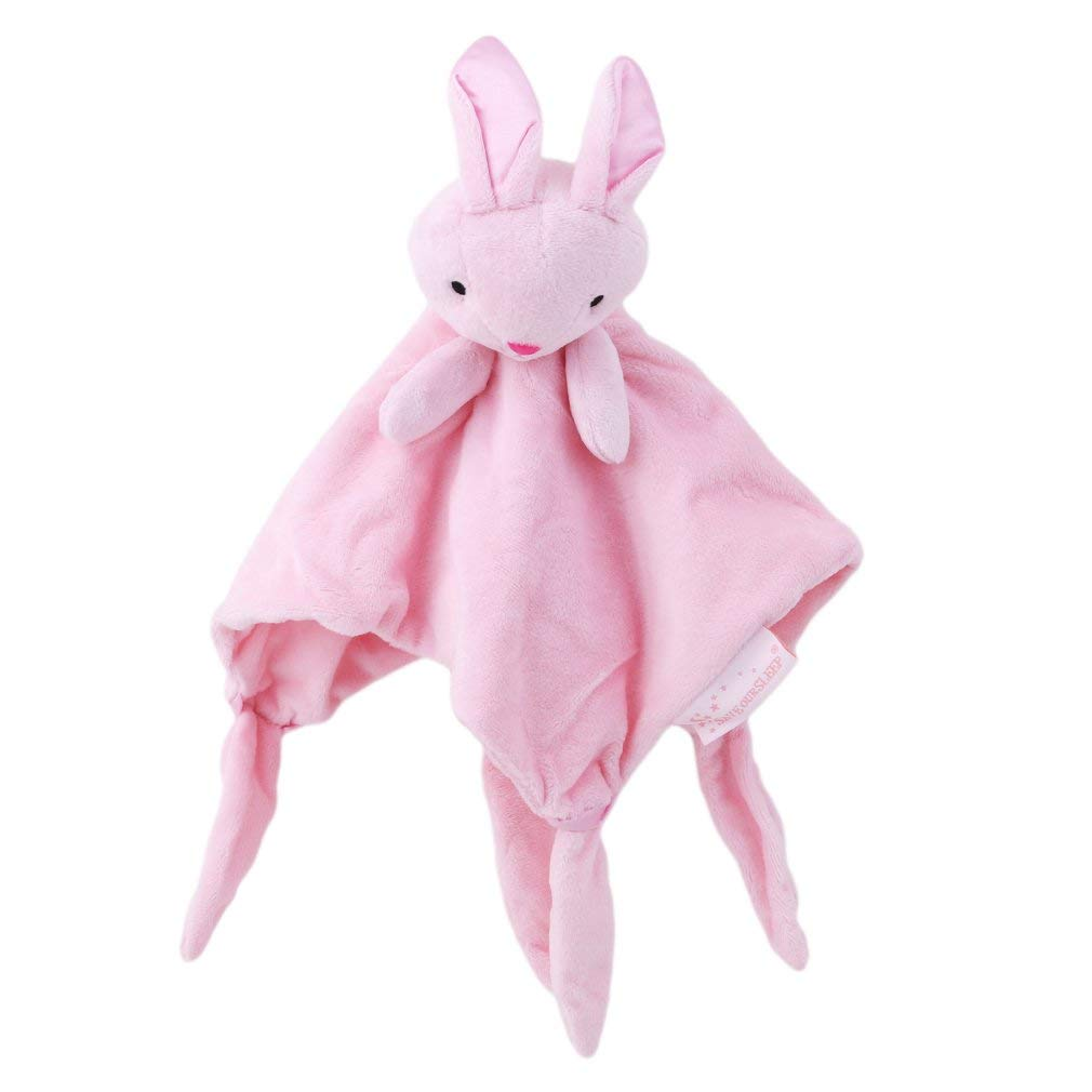 Fliyeong Premium Baby Tag Blanket Comforter with Cute Animals pink bunny