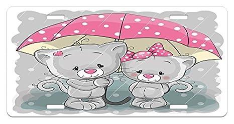 Amazon Com Lunarable Cartoon License Plate Partner Kittens With