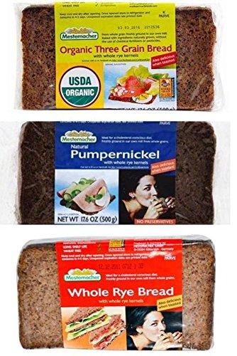 Mestemacher Natural High Fiber Bread 3 Flavor Variety Bundle: (1) Mestemacher Organic Three Grain Bread, (1) Mestemacher Pumpernickel Bread, and (1) Mestemacher Whole Rye Bread, 17.6 Oz. Ea. (3 Total)