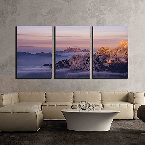 Wonderful Landscape of Mountain at Sunset x3 Panels