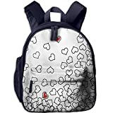 Haixia Kids Boys'&Girls' Backpack with Pocket Black and White Heart Shapes Illustration Love You Bridal Wedding His and Hers Theme Black White Red
