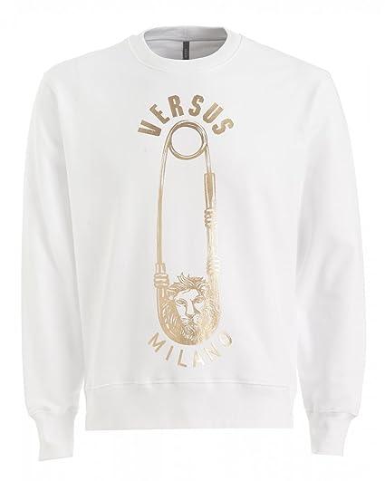 5dc11f019 Versus Versace Mens Lion Safety Pin Regular Fit Sweatshirt XL Optical  White: Amazon.co.uk: Clothing