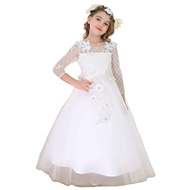 a9d98a6aff6 Bow Dream Flower Girl Dress Vintage Lace Long Sleeves First Communion  Wedding Bridesmaid Party Prom Gown