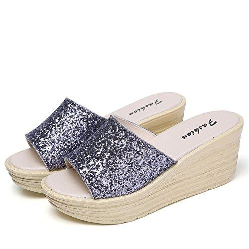 A Plateau Donna Pantofole Silver Con Sandali Aperta Casual Zeppa Da Sandali Punta E RDJM Con zFwxdnXqx