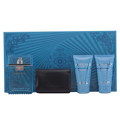 Versace Eau Fraiche 4pcs Gift SET 3.4 Oz EDT Spray + 1.7 Oz After Shave Balm + 1.7 Oz Shower Gel + Wallet for Men