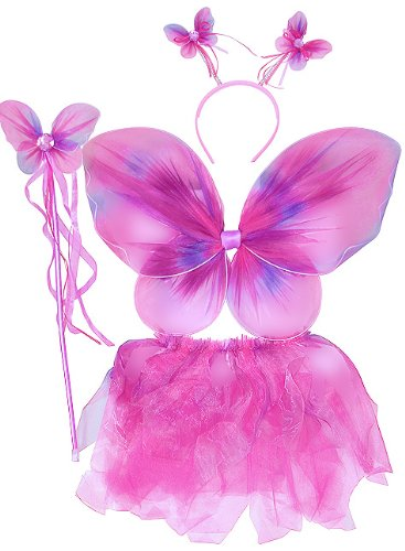Pink & Purple Neon Fairy Butterfly Costume Tutu Set (4 pc)