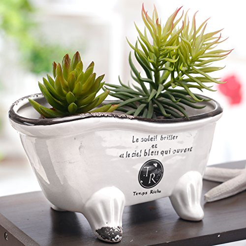 9-Inch, White Ceramic French Country Style Bathtub Succulent Planter, Soap Dish by MyGift