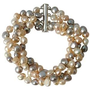 Exclusiva pulsera muy elegante y de moda de perlas blancas cultivadas de agua dulce y ágata con precioso broche en plata