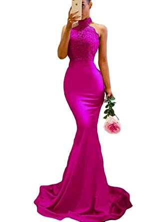 e4beb79d2471 Women's Halter Mermaid Appliques Lace Long Bridesmaid Dress Formal Party  Gown for Wedding Fuchsia US2