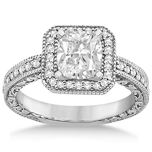 - Milgrain Square Halo Diamond Engagement Ring 14kt White Gold (0.32ct) GH/VS