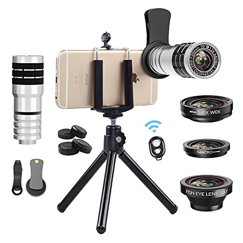 Cell Accessory Kit - Cell Phone Camera Lens Kit, Vorida Universal 12X Telephoto Lens + 180º Fisheye Lens + 0.65X Wide Angle Lens + Macro Lens for iPhone 8, 7, 6, 6s Plus, Samsung & Most Smartphone + Remote Shutter