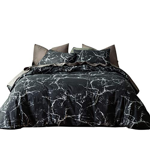 SUSYBAO 3 Pieces Duvet Cover Set 100% Natural Cotton King Size Black and White Marble Abstract Print Bedding with Zipper Ties 1 Duvet Cover 2 Pillowcases Luxury Quality Soft Comfortable Easy Care by SUSYBAO