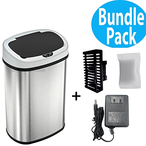 SensorCan OS13KT Automatic Touchless Sensor Kitchen Trash Can with AC Adapter and Odor Filter Kit, Oval Shape 13 Gallon Stainless Steel with ()