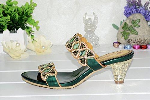 Crc Womens Fashion Knot Sparkle Strass Leather Prom Sandali Festaioli Pantofole Chunky-verde