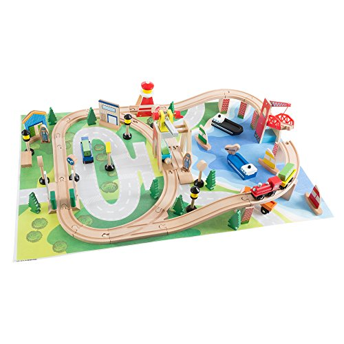 Wooden Train Set with Play Mat for Kids - Includes Deluxe Wood Tracks, Train Cars, Boats, Accessories for Boys and Girls by Hey! Play! from Hey! Play!