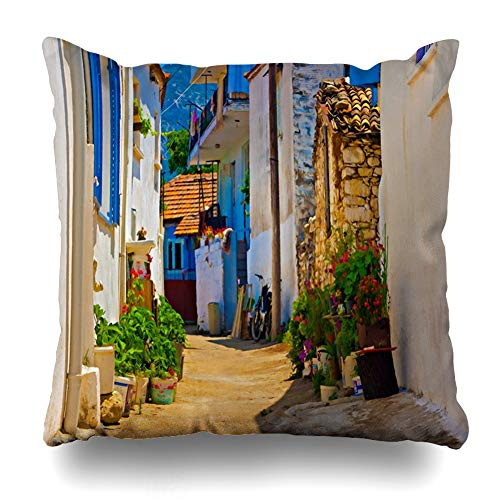 (Ahawoso Throw Pillow Cover Summer Blue Digital Painting Turkish Village City Street Scene Town Turkey Abstract Ancient View Decorative Pillowcase Square Size 16