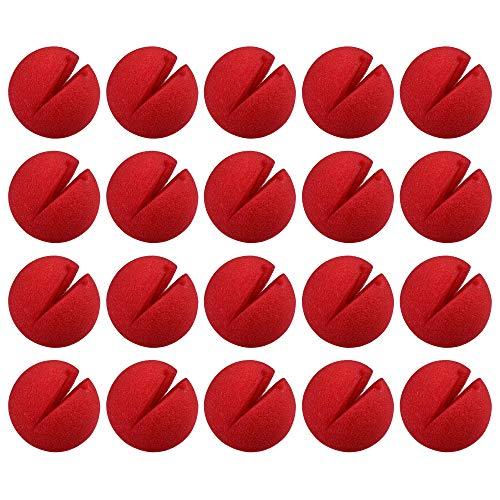 Beautyflier 20pcs Red Clown Nose for Cosplay Circus Costume Party Halloween Christmas Accessory