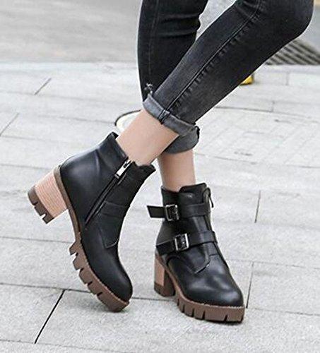 Chfso Womens À La Mode Solide Bout Rond Boucle Zipper Mi Talon Chunky Plateforme Bottes Noir