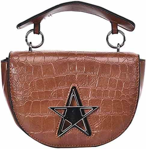 41fa188e7f5f QZUnique Women s PU Leather Handbag Stone Pattern Crossbody Flip Saddle Bag  Top-Handle Shoulder Bag