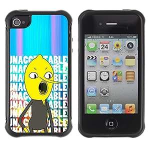 Fuerte Suave TPU GEL Caso Carcasa de Protección Funda para Apple Iphone 4 / 4S / Business Style unacceptable text comic character