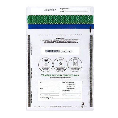 Bank Deposit Bag - Deposit Bags - 100-Piece Tamper-Evident Bags, Tamper Proof Self-Adhesive Seal Clear Plastic Poly Bags for Bank Deposits, Transparent, 13.19 x 8.86 Inches