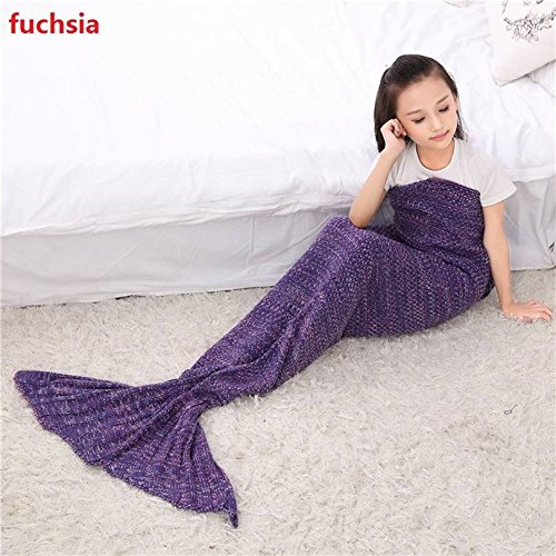 BFY Sleeping Mermaid Tail Knitted Acrylic Kids Blanket Crochet by BFY (Image #1)