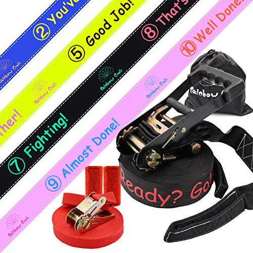 Rainbow Craft Game Score Design Slackline Kit with Training Line - Classic Slack Line with Tree Protectors Ratchet - 50ft Long and Ideal for Slackline Beginner - Black Color