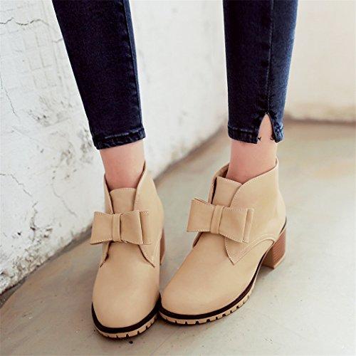 ZQ@QX Otoño e Invierno Código grandes zapatos de mujer cabeza redonda con la áspera y salvaje chica botas botas cortas Beige