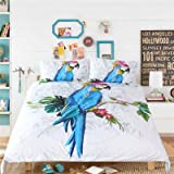 HULI 3D Parrot Duvet Cover Set 3 Pieces Animal Painting Bedding Set(King)