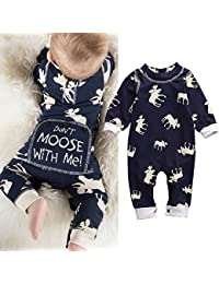 Toddler Infant Baby Girl Boy Long Sleeve Deer Romper...