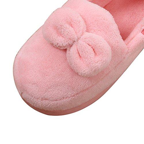 Pantofole Vintage Da Interno Artico Solido Miyang Bowknot-rosa Chiaro