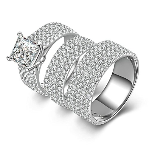 Epinki Women Rings, 925 Sterling Silver Ring Promise Ring Square Cubic Zirconia Double Ring Set Size 10.5 by Epinki
