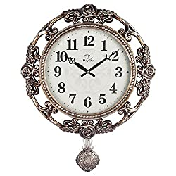 Vintage Retro Design 25-inch Large Size Wall Clock Non-ticking Silent Quartz Movement Wall Clocks with Pendulum Decorated with Roses DYD-66161 (Bronze)