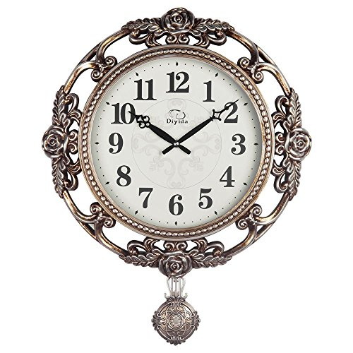 Cheap Vintage Retro Design 25-inch Large Size Wall Clock Non-ticking Silent Quartz Movement Wall Clocks with Pendulum Decorated with Roses DYD-66161 (Bronze)